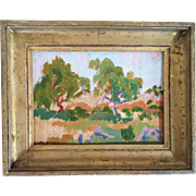 "Ivan Da Silva Bruhns (1880 - 1980) Impressionist Landscape Oil Painting on Wood Panel ""Antibes 1919"""