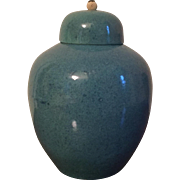 Antique 19th century Chinese Monochrome Porcelain Vase Jar & Cover in Robin's Egg Blue Speckled Glaze