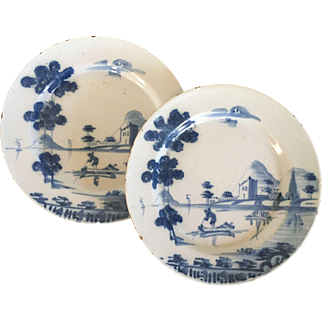 Pair Antique 18th century English Delft Tin Glaze Blue & White Landscape Plates with Fishermen and Boats in the Chinese Taste
