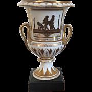 Antique Early 19th century English Georgian Coalport Porcelain Urn Vase in the Neoclassical Taste 1800 - 1805