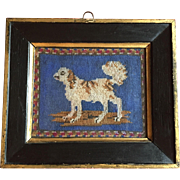 Antique 19th century English Regency Needlework Portrait of a Dog - Cavalier King Charles Spaniel - Needlepoint in Original Frame