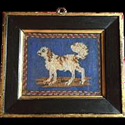 Antique 19th century English Regency Needlework Portrait of a Dog - Cavalier King Charles Spaniel - Needlepoint in Original Frame