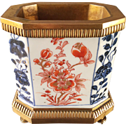 Antique 18th century Chinese Imari Porcelain Vase or Brush Pot Mounted in French Gilt Bronze