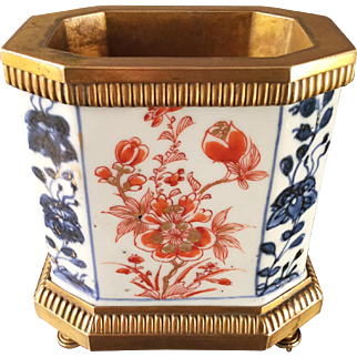Antique 18th century Chinese Imari Porcelain Vase or Brush Pot Mounted in French Gilt Bronze