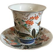 Large Antique 18th century Japanese Imari Cup & Saucer Paper Thin