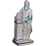 Antique 18th century English Pearlware Classical Staffordshire Figure of Medea at the Altar of Diana c. 1800