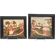 Pair Antique 19th century Needlework Pictures of a Girl in Landscape