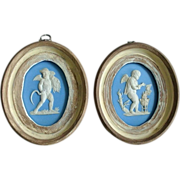 Early Pair of Wedgwood (only) Jasperware Plaques Depicting the Four Seasons Summer and Winter