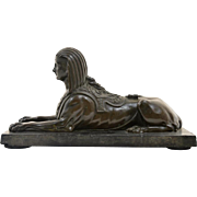 Antique Early 19th century English Regency Bronze Grand Tour Egyptian Revival Sphinx on Marble Base