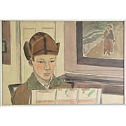 Charles Downing Lay Watercolor Portrait of His Son at Christmas Signed & Dated 1925