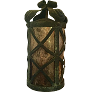 Antique Late 19th / Early 20th century Beaux-Arts Neoclassical Bronze Hall Lantern with Mica Shade c. 1900