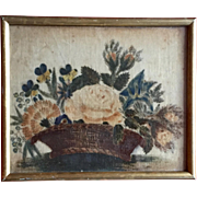 Antique 19th century American Theorem Painting on Velvet of a Basket of Flowers in Gilt Wood Frame