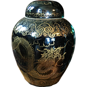 Very Large Antique 19th century Chinese Mirror Black Porcelain Vase Jar & Cover with Gilt Dragon
