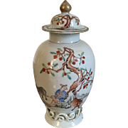 Antique 18th century Vase Form Chinese Export Porcelain Tea Caddy with Famille Rose and Grisaille Decoration of Oxen and a Farmer in Landscape
