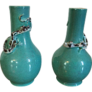Pair Antique 19th c. Chinese Monochrome Porcelain Bottle Shape Vases with Relief Molded Dragons or Lizards