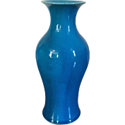 Antique Chinese Monochrome Porcelain Peacock Blue Turquoise Baluster Shaped Vase - Late Qing, Early 20th c.