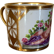 Antique Early 19th century French Empire Paris Porcelain Coffee Can 1800 - 1810