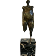 Modern Bronze Abstract Figural Sculpture in the Manner of Henry Moore Floating on a Marble Base