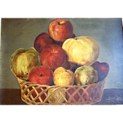Antique Early 19th century American Empire Still Life Oil Painting on Board of a Basket of Fruit and Apples 1830 Folk Art