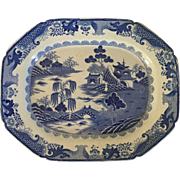 Large Antique Early 19th century English Staffordshire Mason's Ironstone Blue & White Turkey Platter in the Chinese Taste
