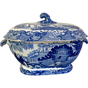 Large Antique Early 19th century English Staffordshire Pearlware Blue & White Soup Tureen in the Chinese Taste