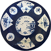Antique 18th century English Bow Worcester Porcelain Plate in in the Chinese Kangxi Taste with Powder Blue Glaze