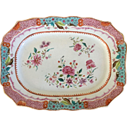 Antique 18th century Chinese Export Famille Rose Platter for the French Market