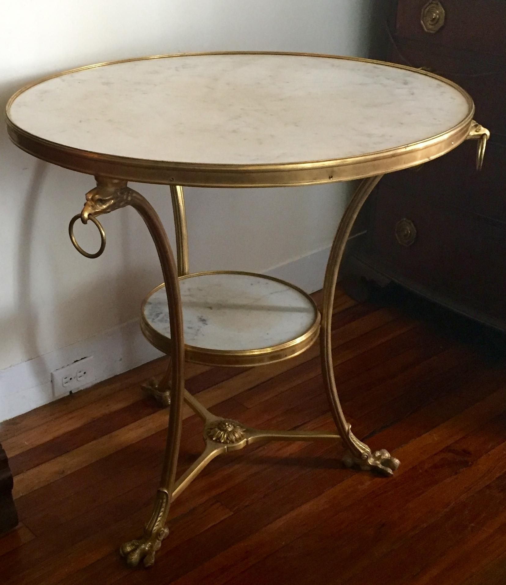 Antique French Gilt Bronze & White Marble Round Gueridon Table in