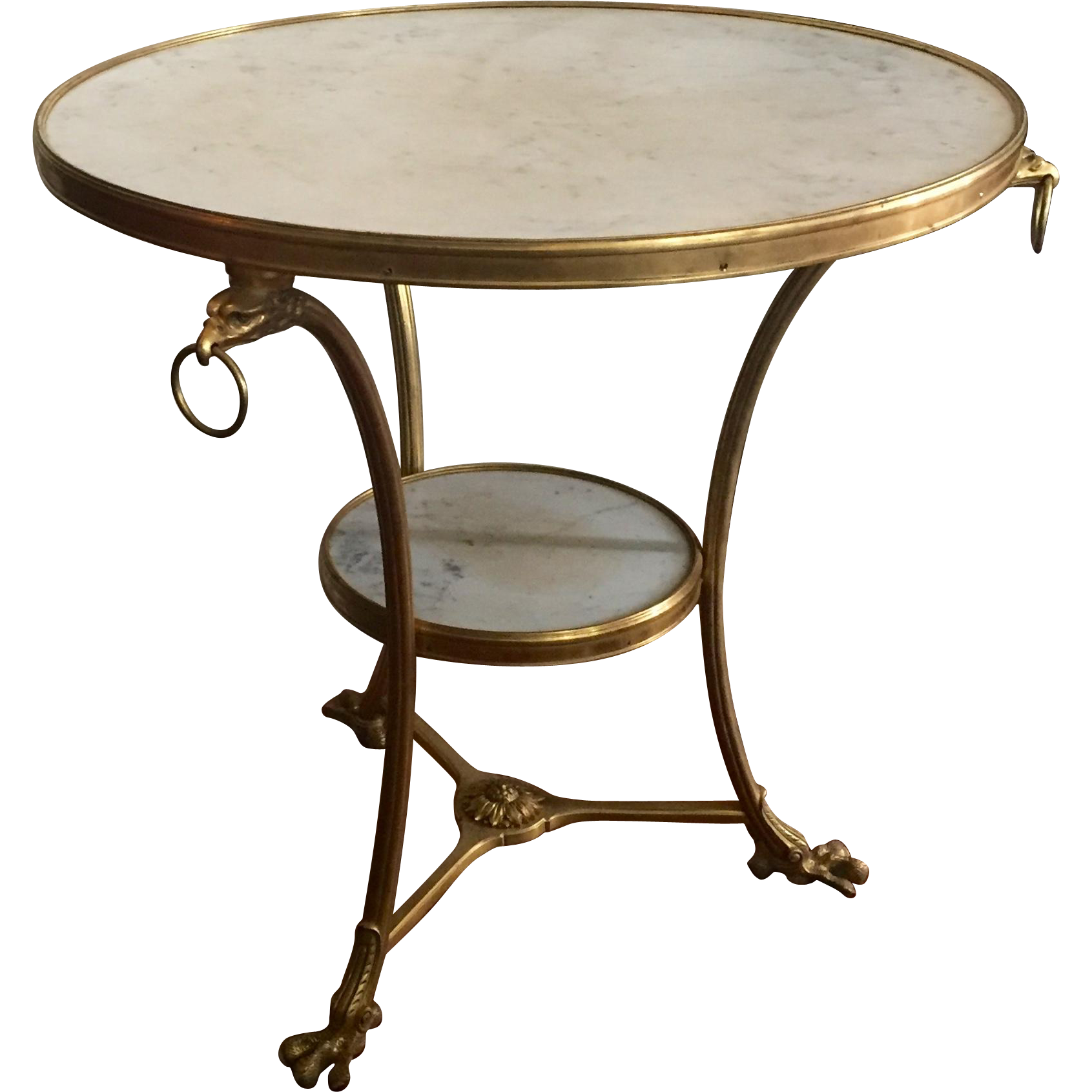 Antique french gilt bronze white marble round gueridon for Table gueridon