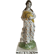 Antique 18th century Staffordshire Pearlware Four Seasons Figure of Autumn or Fall