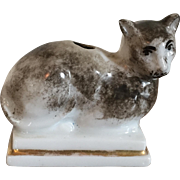 Antique Early 19th century English Regency Porcelain Cat Form Inkwell