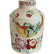 Antique 18th century English Staffordshire Pearlware Tea Caddy King's Rose with Exotic Bird