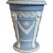 Antique Edwardian Wedgwood Light Blue Neoclassical Monopedia Jasperware Urn Vase