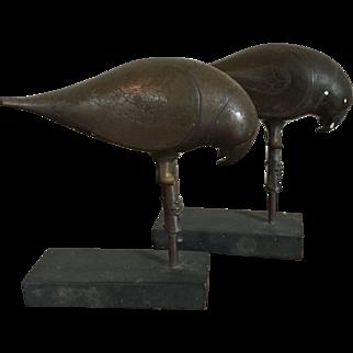 Pair Antique Bronze Parrots with Incised Decoration