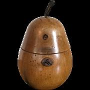 Vintage English Wood Pear Form Tea Caddy