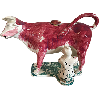Antique 19th century English Pearlware Pink Luster Cow Form Creamer with Milk Maid