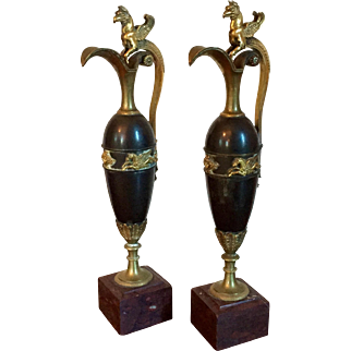 A Pair of French Empire Ormolu, Patinated Bronze and Rouge Griotte Marble Ewers or Urns Attributed to Claude Galle 1810