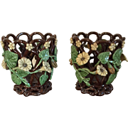 Pair Antique 19th century English Staffordshire Openwork Cachepot Planters