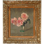 Edward Barnard Lintott (1875 - 1951) Oil on Board Still Life Painting of Pink Roses in a Glass Vase in Original Gilt Frame