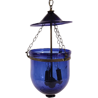 Antique 19th century English Blue Bell Jar Glass Hall Lantern with Smoke Shade Now Electrified