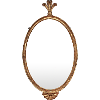 Antique English Gilt Wood Oval Mirror with Fleur de Lis Feather Finial 19th c.