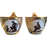 Pair Antique Early 19th century English Georgian Coalport Tea Cups Decorated with Neoclassical Silhouettes c 1800 - 1805