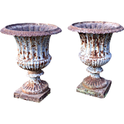 Large Pair Antique 19th century Cast Iron Neoclassical Garden Urns with Old Painted Surface