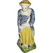 Antique 18th century English Pearlware Prattware Figure of a Girl with Mandolin 1790