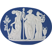 Large Antique 19th century Wedgwood Jasperware Plaque from Bacchanalian Triumph