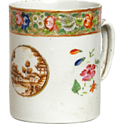 Large Antique 18th Century Chinese Export Porcelain Tankard Mug for the American Market with Sepia Landscape and Famille Rose Band c. 1800