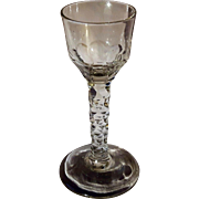 18th / 19th century Georgian Anglo Irish Facet Cut Stem Crystal Wine Glass 1800