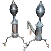 Good Pair of Early 19th c. New York Federal Brass and Wrought Iron Lemon Top Andirons for the Fireplace Hearth