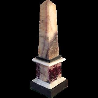 Antique George III Derbyshire Feldspar Blue John Grand Tour Obelisk 1800