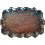 Antique 18th century George III Carved Mahogany Chippendale Pie Crust Waiter Tray or Coaster 1790